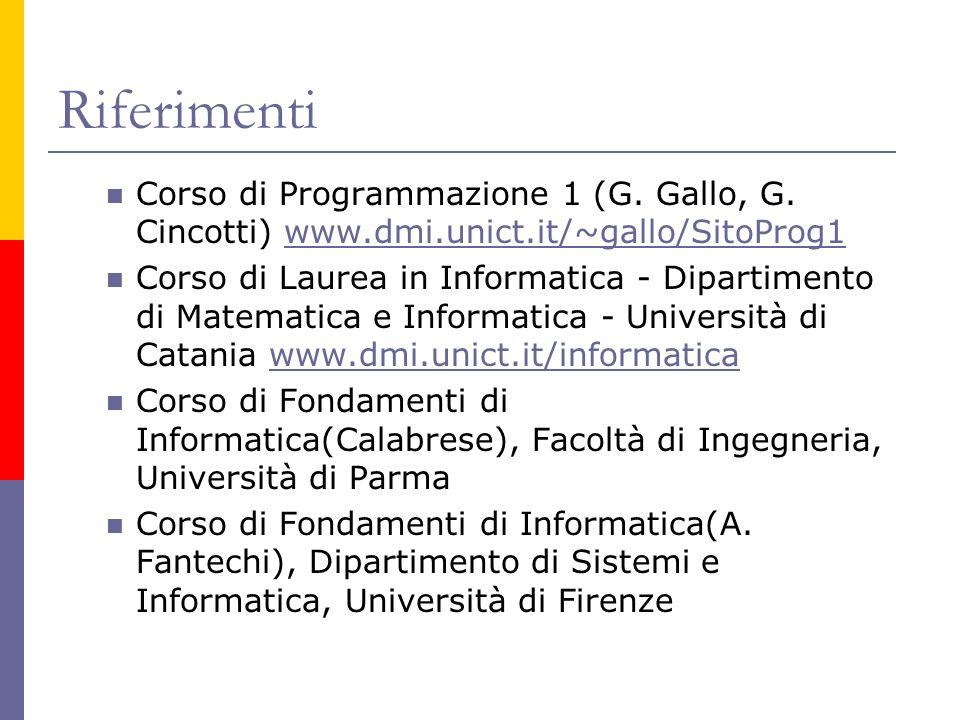 Riferimenti Corso di Programmazione 1 (G. Gallo, G. Cincotti) www.dmi.unict.it/~gallo/SitoProg1www.dmi.unict.it/~gallo/SitoProg1 Corso di Laurea in In