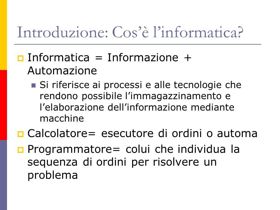 Introduzione: Cosè linformatica? Informatica = Informazione + Automazione Si riferisce ai processi e alle tecnologie che rendono possibile limmagazzin
