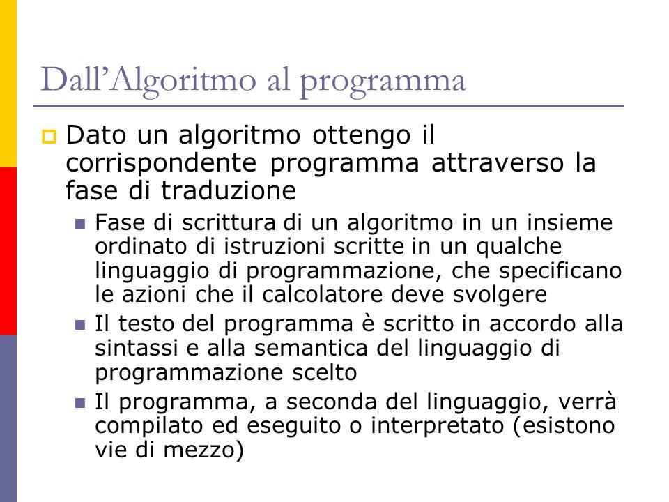 DallAlgoritmo al programma Dato un algoritmo ottengo il corrispondente programma attraverso la fase di traduzione Fase di scrittura di un algoritmo in