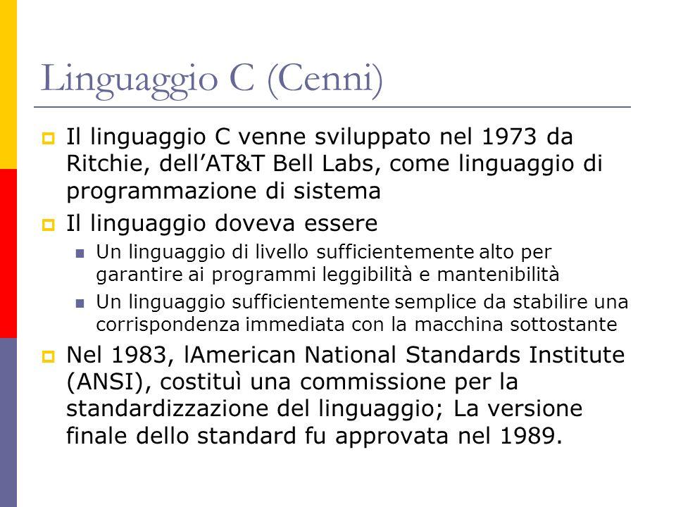 Linguaggio C (Cenni) Il linguaggio C venne sviluppato nel 1973 da Ritchie, dellAT&T Bell Labs, come linguaggio di programmazione di sistema Il linguag