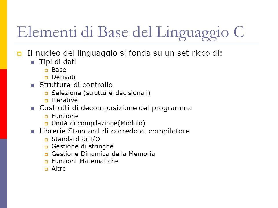 Elementi di Base del Linguaggio C Il nucleo del linguaggio si fonda su un set ricco di: Tipi di dati Base Derivati Strutture di controllo Selezione (s