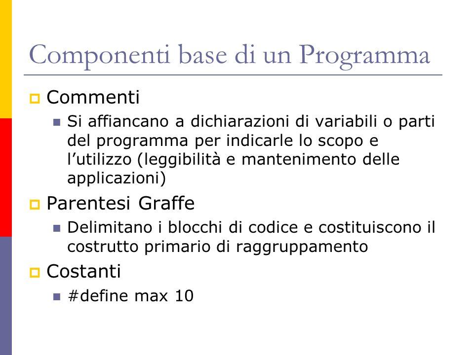 Componenti base di un Programma Commenti Si affiancano a dichiarazioni di variabili o parti del programma per indicarle lo scopo e lutilizzo (leggibil