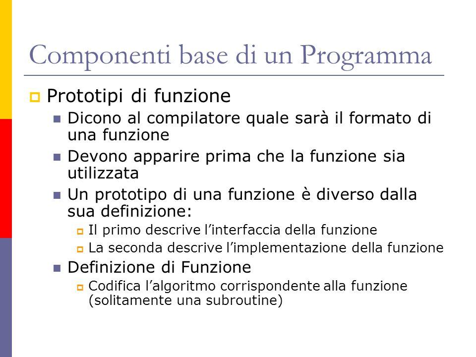 Componenti base di un Programma Prototipi di funzione Dicono al compilatore quale sarà il formato di una funzione Devono apparire prima che la funzion