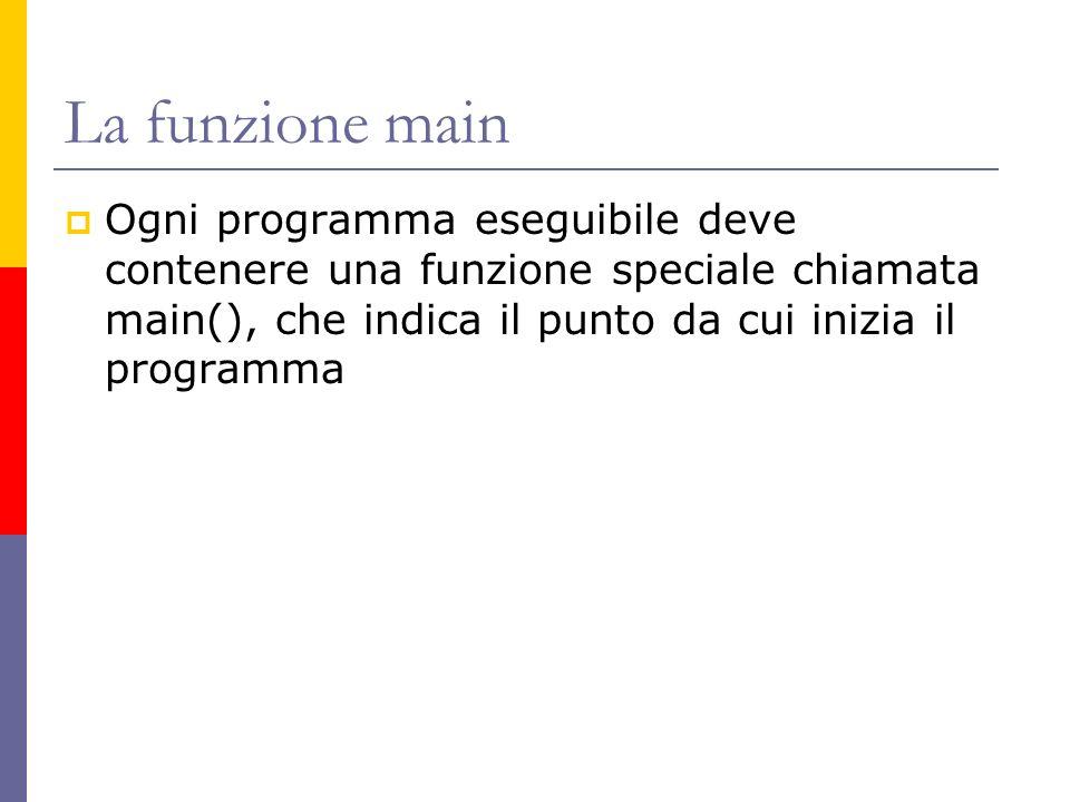 La funzione main Ogni programma eseguibile deve contenere una funzione speciale chiamata main(), che indica il punto da cui inizia il programma