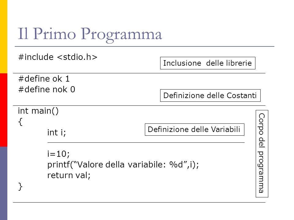Il Primo Programma #include #define ok 1 #define nok 0 int main() { int i; i=10; printf(Valore della variabile: %d,i); return val; } Inclusione delle