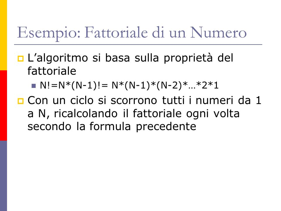 Esempio: Fattoriale di un Numero Lalgoritmo si basa sulla proprietà del fattoriale N!=N*(N-1)!= N*(N-1)*(N-2)*…*2*1 Con un ciclo si scorrono tutti i n