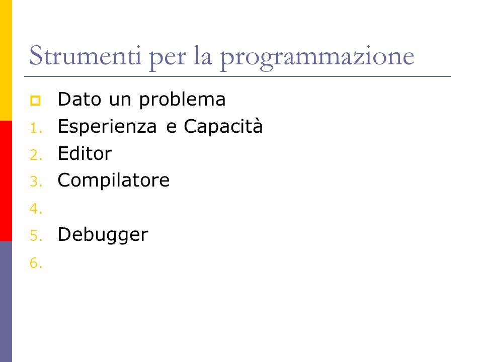 Strumenti per la programmazione Dato un problema 1. Esperienza e Capacità 2. Editor 3. Compilatore 4. 5. Debugger 6.