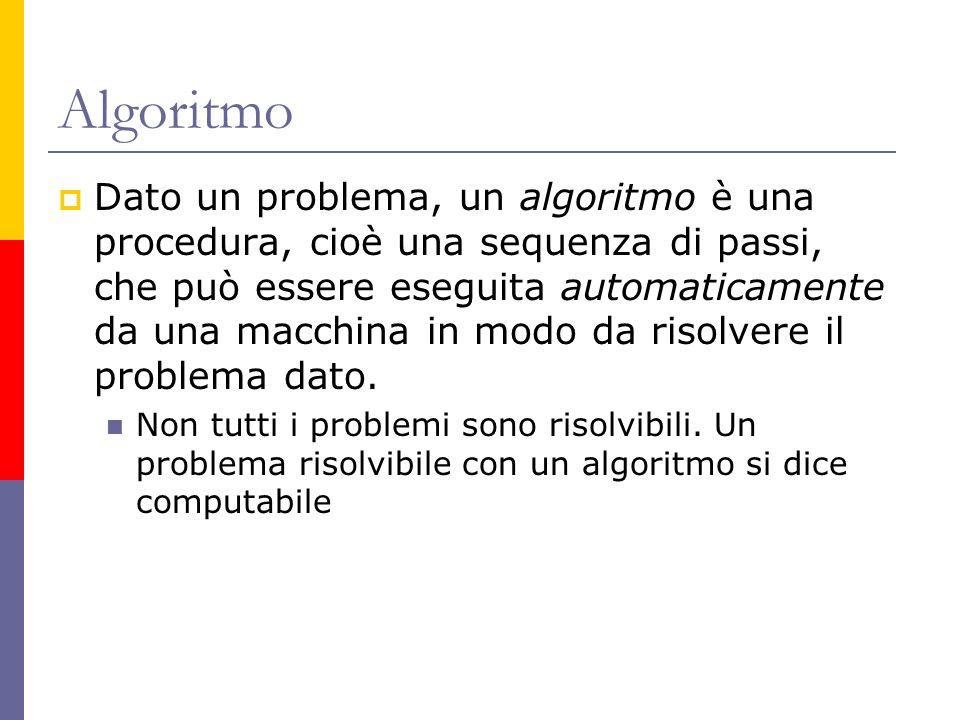 Algoritmo Dato un problema, un algoritmo è una procedura, cioè una sequenza di passi, che può essere eseguita automaticamente da una macchina in modo