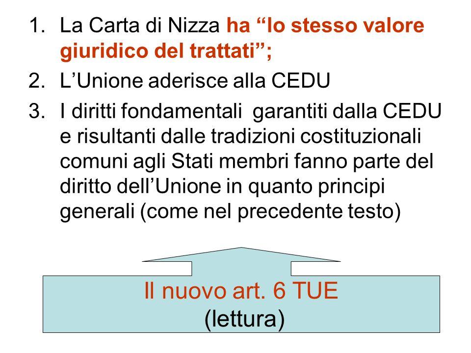 I diritti sociali nei Trattati dopo Lisbona Lart. 136 non viene modificato (ora art. 151 TFUE) Cambia, significativamente, il testo dellart. 6 TUE