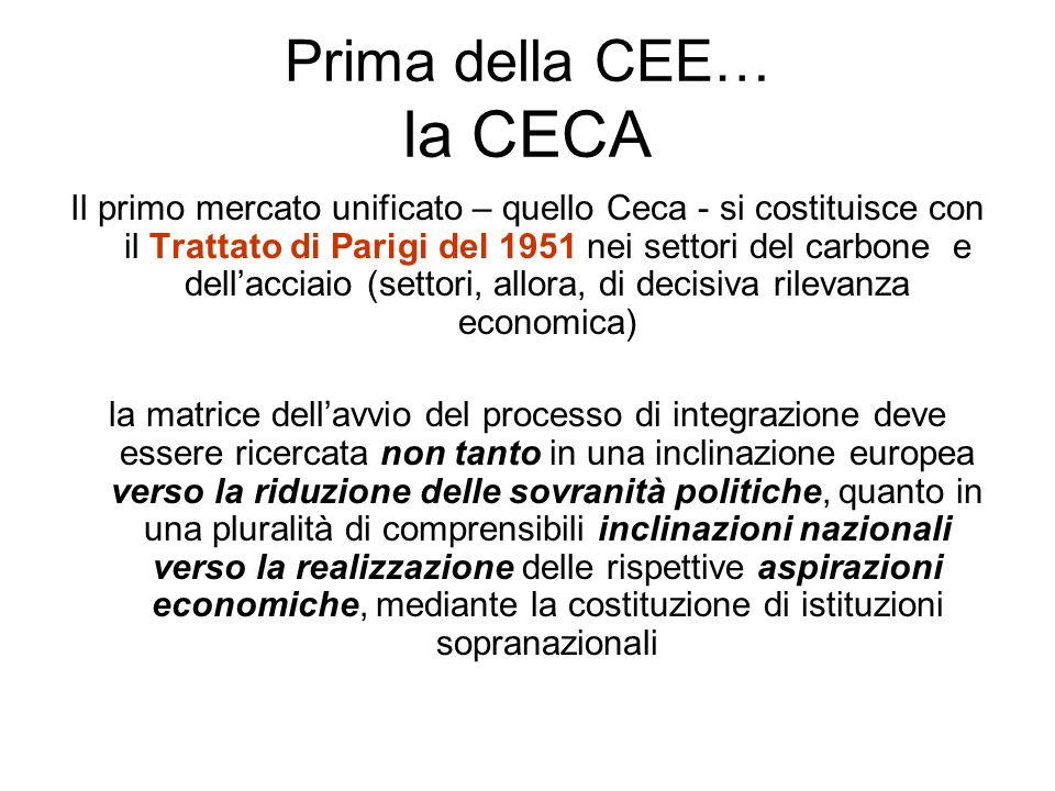 Prima della CEE… la CECA Il primo mercato unificato – quello Ceca - si costituisce con il Trattato di Parigi del 1951 nei settori del carbone e dellacciaio (settori, allora, di decisiva rilevanza economica) la matrice dellavvio del processo di integrazione deve essere ricercata non tanto in una inclinazione europea verso la riduzione delle sovranità politiche, quanto in una pluralità di comprensibili inclinazioni nazionali verso la realizzazione delle rispettive aspirazioni economiche, mediante la costituzione di istituzioni sopranazionali