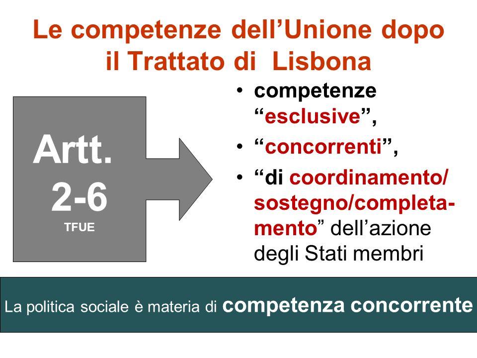 Le competenze dellUnione dopo il Trattato di Lisbona Le relative norme sono distribuite fra TUE (artt. 1, 4 e 5) e TFUE (artt. 2-6)
