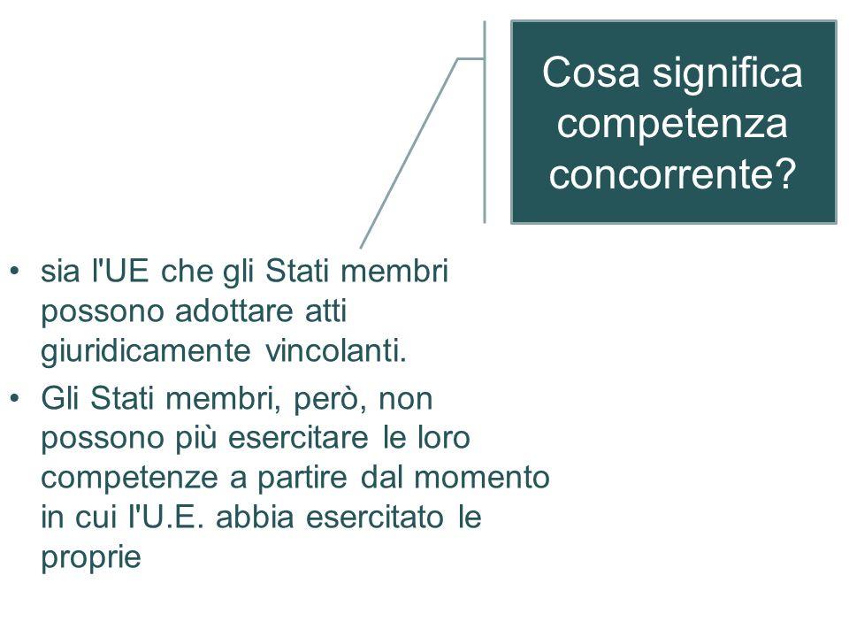 Le competenze dellUnione dopo il Trattato di Lisbona competenzeesclusive, concorrenti, di coordinamento/ sostegno/completa- mento dellazione degli Sta