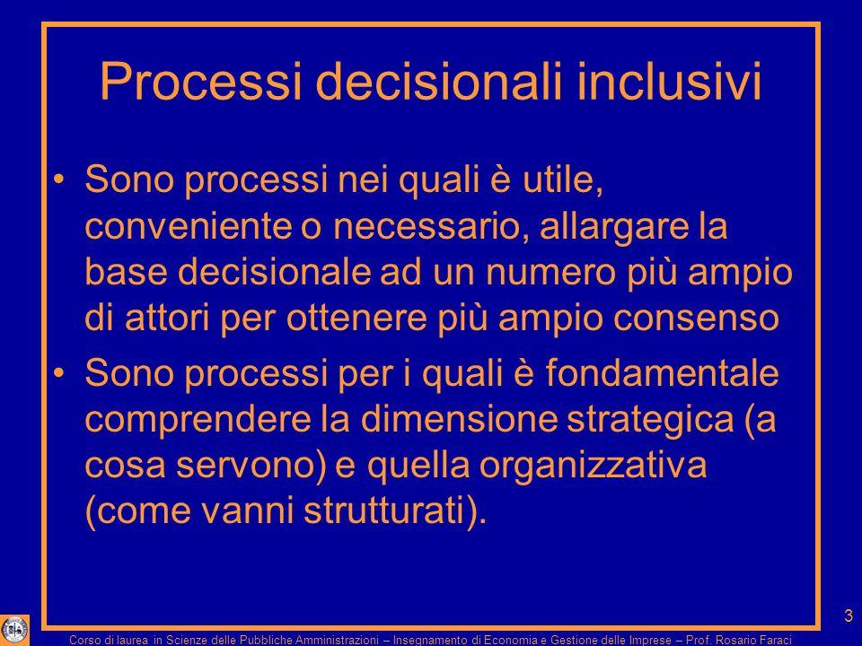 3 Processi decisionali inclusivi Sono processi nei quali è utile, conveniente o necessario, allargare la base decisionale ad un numero più ampio di attori per ottenere più ampio consenso Sono processi per i quali è fondamentale comprendere la dimensione strategica (a cosa servono) e quella organizzativa (come vanni strutturati).