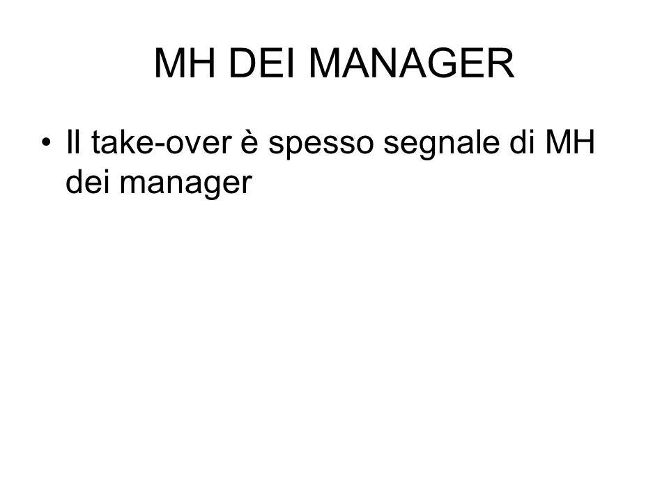 MH DEI MANAGER Il take-over è spesso segnale di MH dei manager