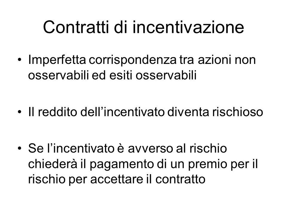 Contratti di incentivazione Imperfetta corrispondenza tra azioni non osservabili ed esiti osservabili Il reddito dellincentivato diventa rischioso Se lincentivato è avverso al rischio chiederà il pagamento di un premio per il rischio per accettare il contratto
