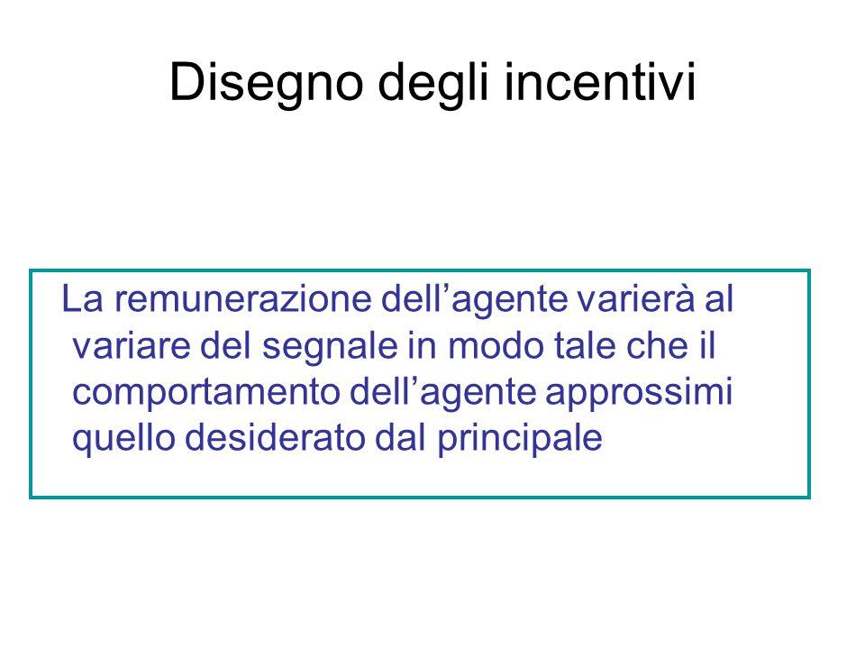 Disegno degli incentivi La remunerazione dellagente varierà al variare del segnale in modo tale che il comportamento dellagente approssimi quello desiderato dal principale