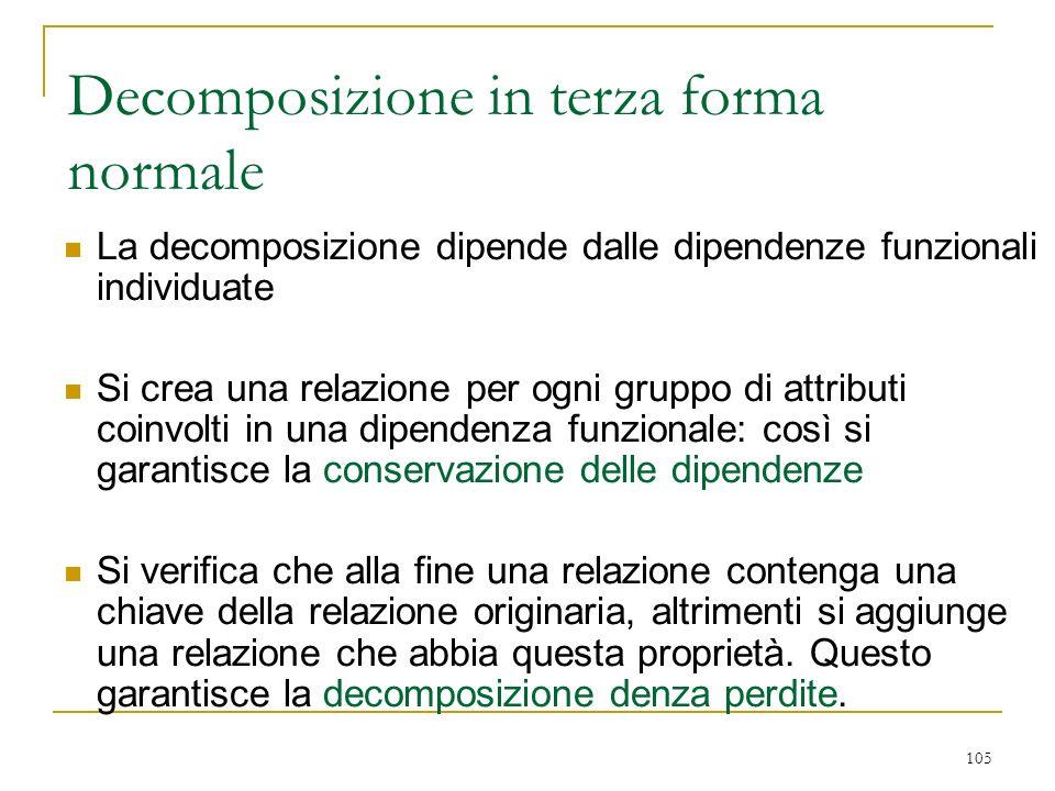 105 Decomposizione in terza forma normale La decomposizione dipende dalle dipendenze funzionali individuate Si crea una relazione per ogni gruppo di a