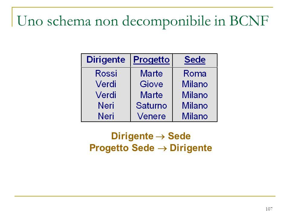 107 Uno schema non decomponibile in BCNF Dirigente Sede Progetto Sede Dirigente