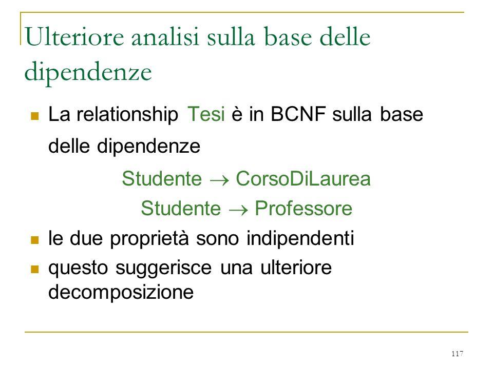 117 Ulteriore analisi sulla base delle dipendenze La relationship Tesi è in BCNF sulla base delle dipendenze Studente CorsoDiLaurea Studente Professor