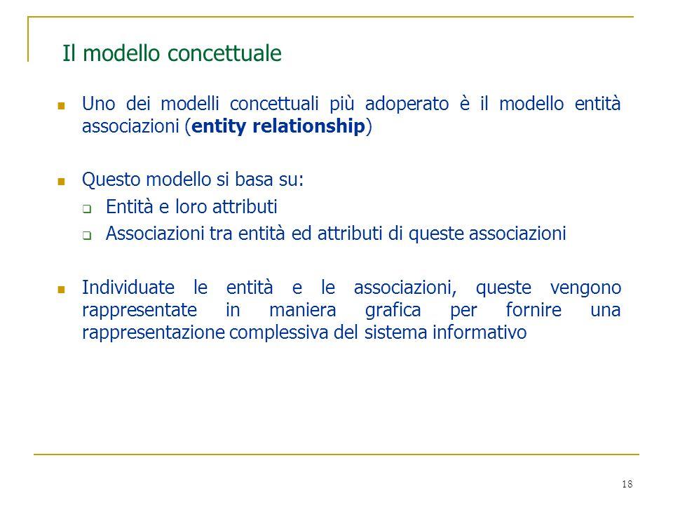 18 Il modello concettuale Uno dei modelli concettuali più adoperato è il modello entità associazioni (entity relationship) Questo modello si basa su: