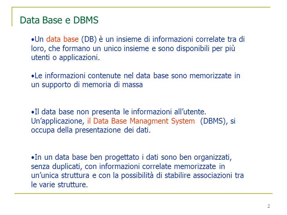 33 Secondo esempio Una società di formazione vuole memorizzare i dati anagrafici dei suoi corsisti e dei corsi che tiene.