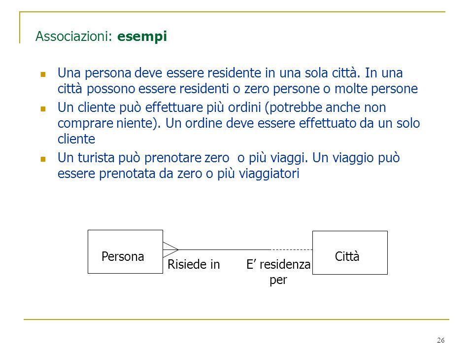 26 Associazioni: esempi Una persona deve essere residente in una sola città. In una città possono essere residenti o zero persone o molte persone Un c