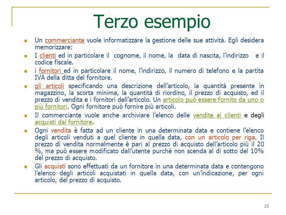 35 Terzo esempio Un commerciante vuole informatizzare la gestione delle sue attività. Egli desidera memorizzare: I clienti ed in particolare il cognom