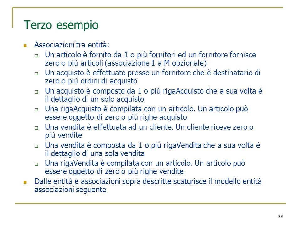 38 Terzo esempio Associazioni tra entità: Un articolo è fornito da 1 o più fornitori ed un fornitore fornisce zero o più articoli (associazione 1 a M