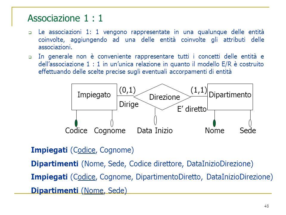 48 Associazione 1 : 1 Le associazioni 1: 1 vengono rappresentate in una qualunque delle entità coinvolte, aggiungendo ad una delle entità coinvolte gl
