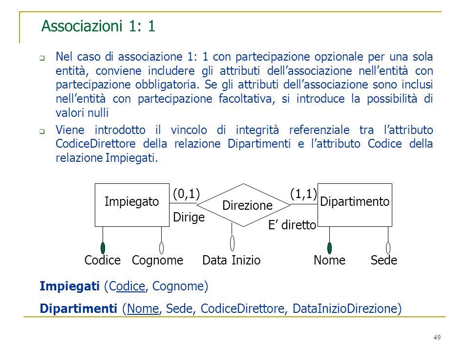 49 Associazioni 1: 1 Nel caso di associazione 1: 1 con partecipazione opzionale per una sola entità, conviene includere gli attributi dellassociazione