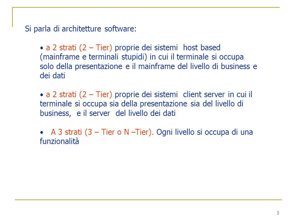 5 Si parla di architetture software: a 2 strati (2 – Tier) proprie dei sistemi host based (mainframe e terminali stupidi) in cui il terminale si occup