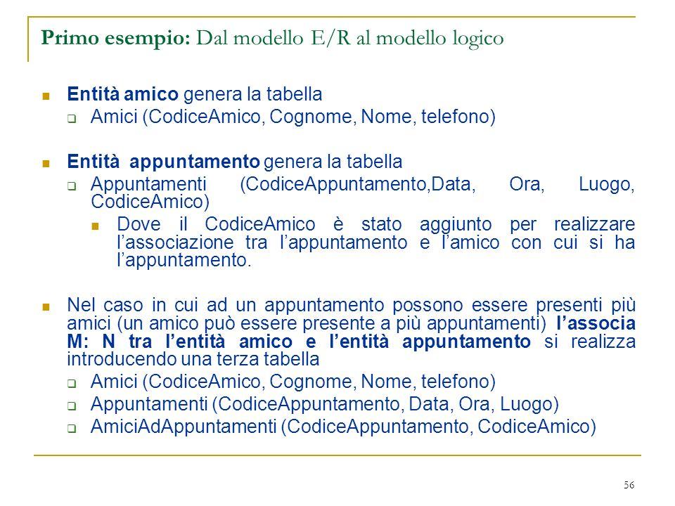 56 Primo esempio: Dal modello E/R al modello logico Entità amico genera la tabella Amici (CodiceAmico, Cognome, Nome, telefono) Entità appuntamento ge