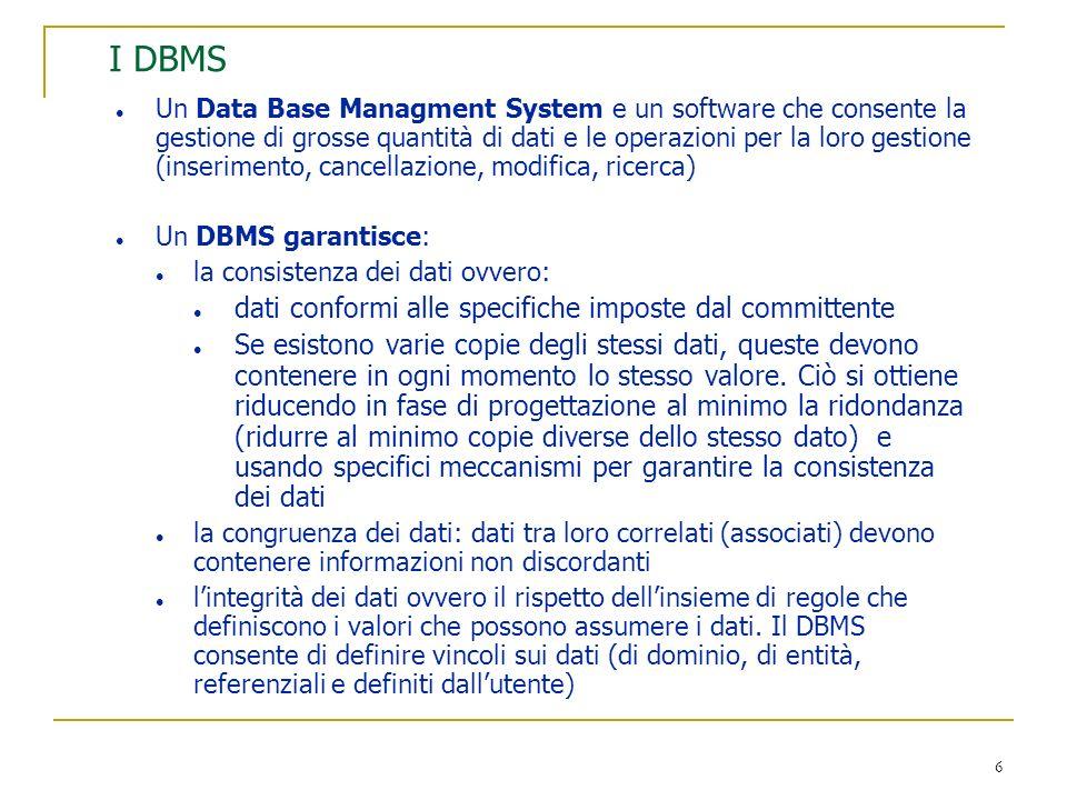 6 I DBMS l Un Data Base Managment System e un software che consente la gestione di grosse quantità di dati e le operazioni per la loro gestione (inser