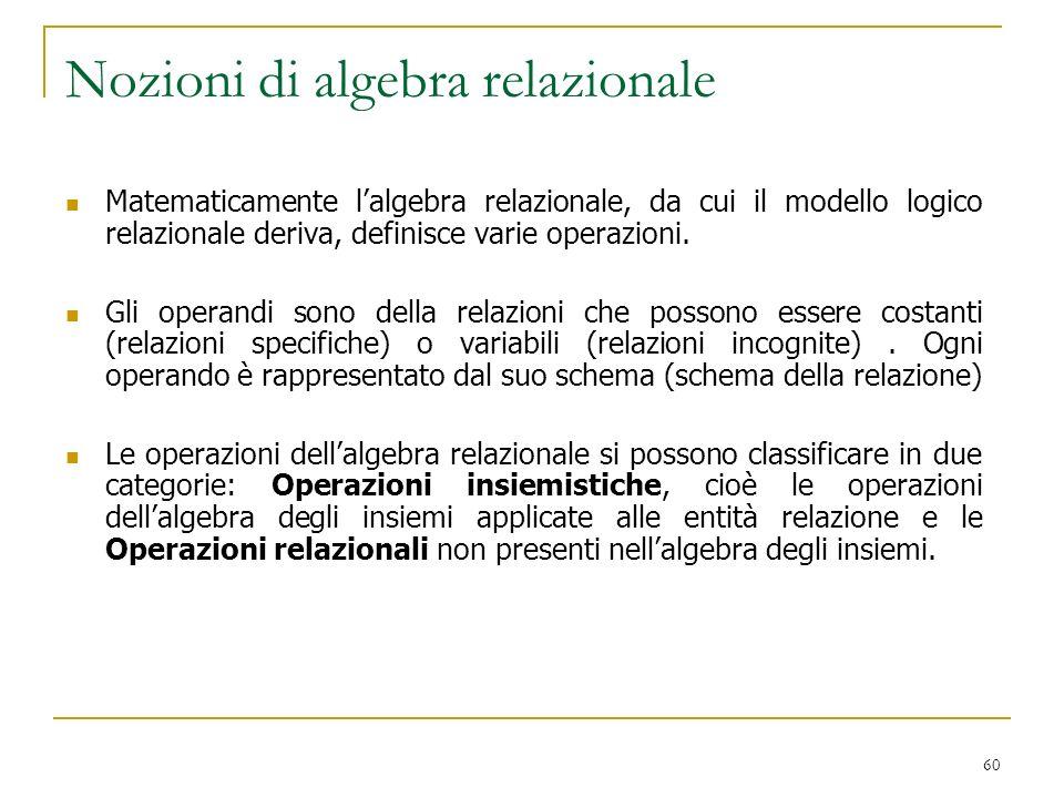60 Nozioni di algebra relazionale Matematicamente lalgebra relazionale, da cui il modello logico relazionale deriva, definisce varie operazioni. Gli o