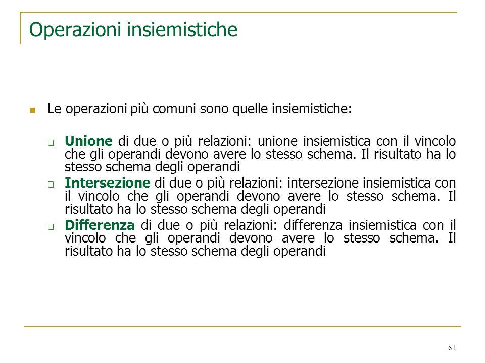 61 Operazioni insiemistiche Le operazioni più comuni sono quelle insiemistiche: Unione di due o più relazioni: unione insiemistica con il vincolo che