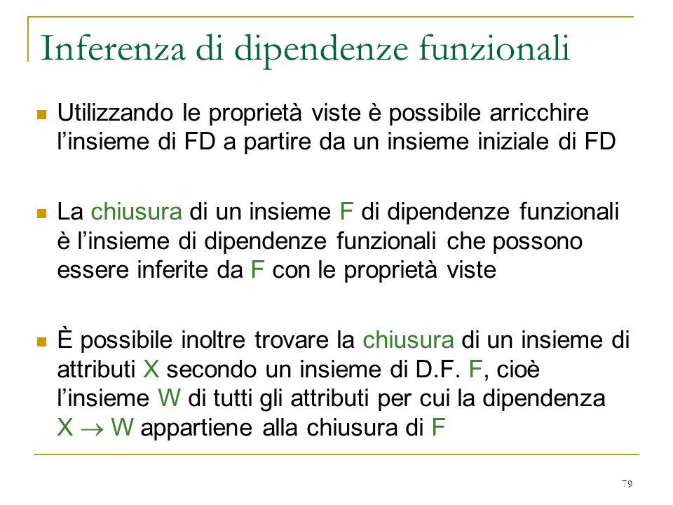 79 Inferenza di dipendenze funzionali Utilizzando le proprietà viste è possibile arricchire linsieme di FD a partire da un insieme iniziale di FD La c