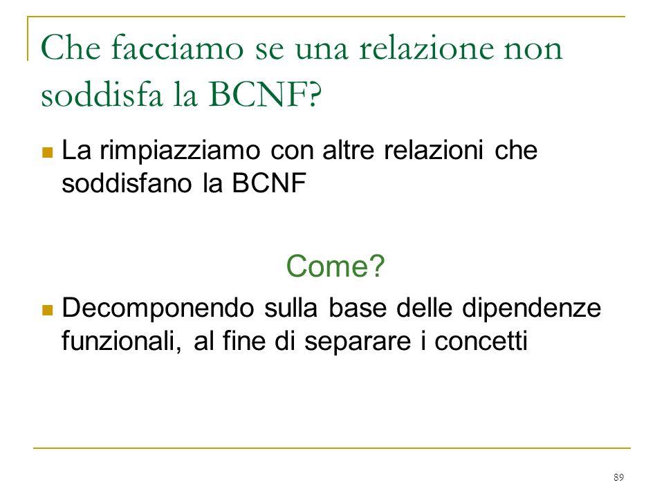 89 Che facciamo se una relazione non soddisfa la BCNF? La rimpiazziamo con altre relazioni che soddisfano la BCNF Come? Decomponendo sulla base delle