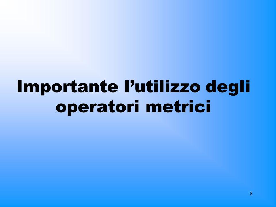 8 Importante lutilizzo degli operatori metrici