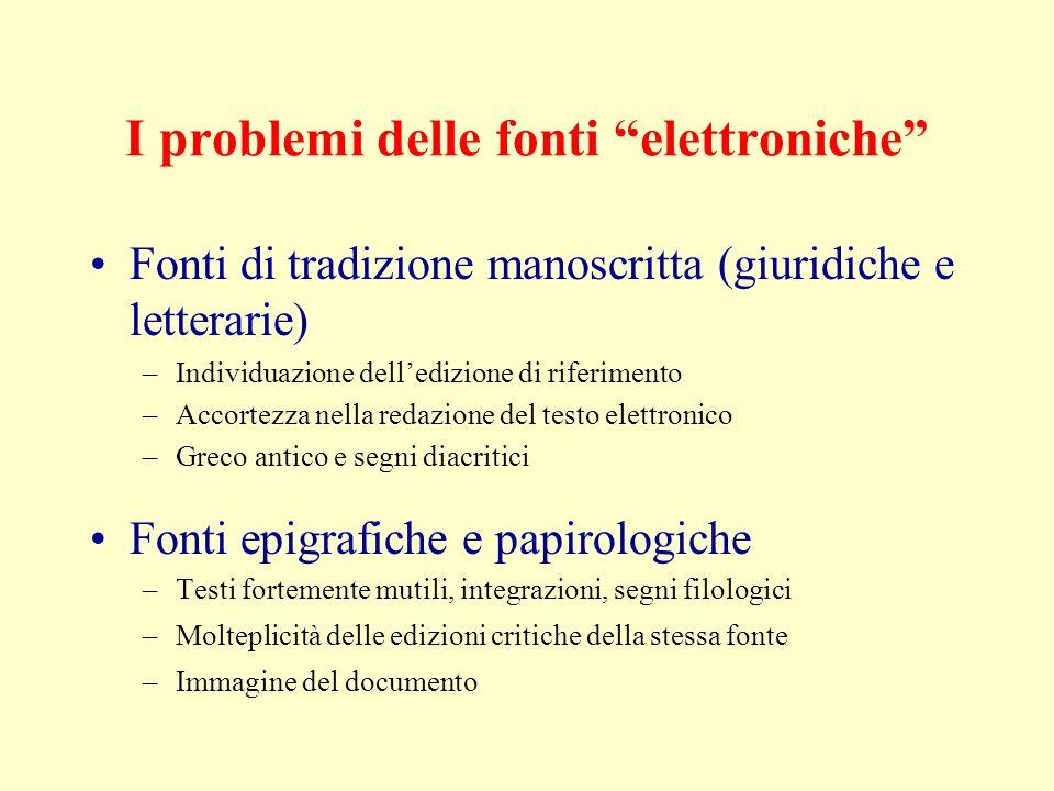 I problemi delle fonti elettroniche Fonti di tradizione manoscritta (giuridiche e letterarie) –Individuazione delledizione di riferimento –Accortezza