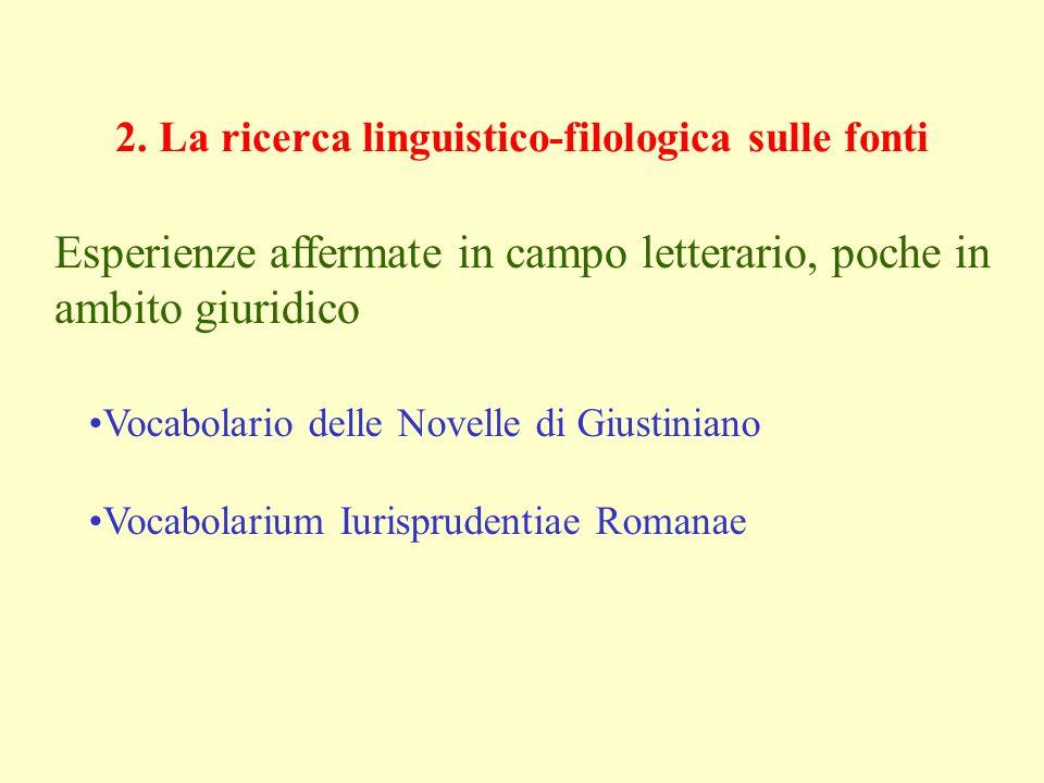 2. La ricerca linguistico-filologica sulle fonti Vocabolario delle Novelle di Giustiniano Vocabolarium Iurisprudentiae Romanae Esperienze affermate in