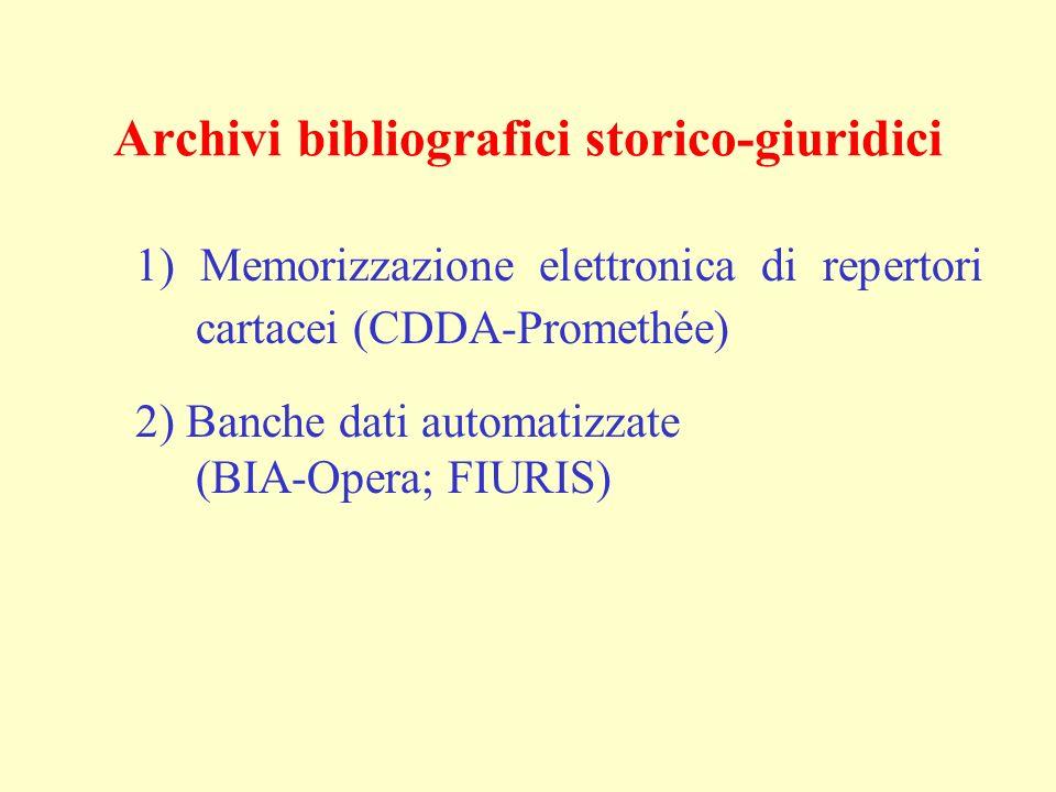 Archivi bibliografici storico-giuridici 1) Memorizzazione elettronica di repertori cartacei (CDDA-Promethée) 2) Banche dati automatizzate (BIA-Opera;