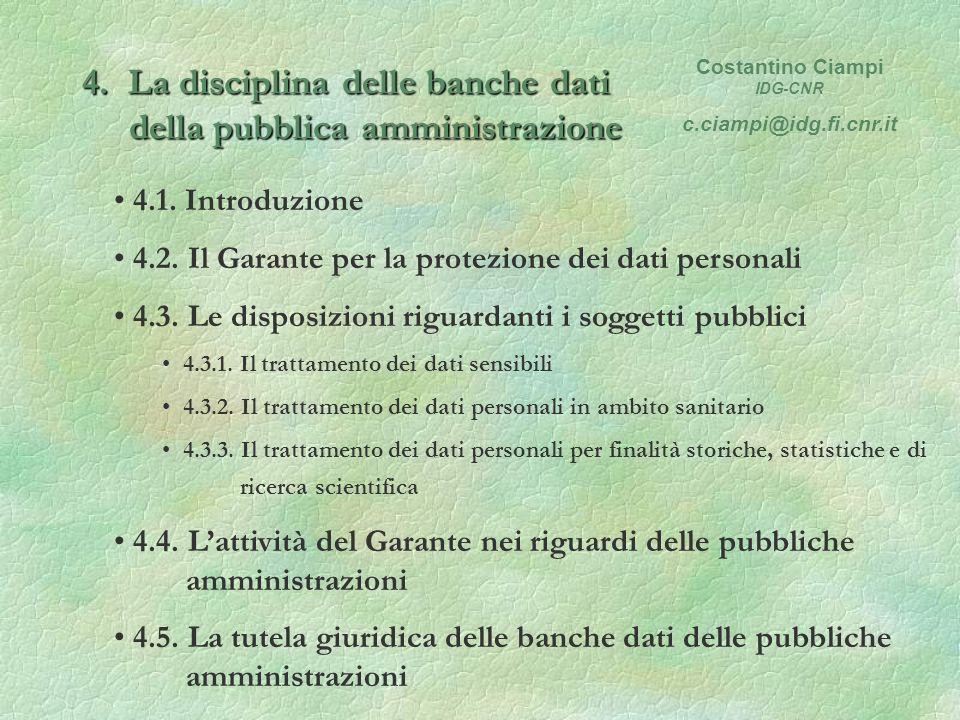 4. La disciplina delle banche dati della pubblica amministrazione 4.1.