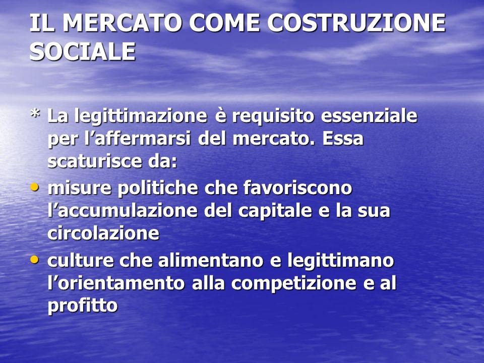 IL MERCATO COME COSTRUZIONE SOCIALE * La legittimazione è requisito essenziale per laffermarsi del mercato.