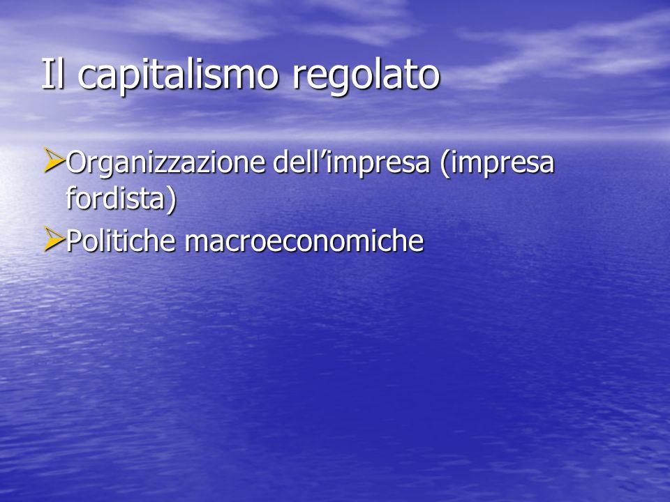 Il capitalismo regolato Organizzazione dellimpresa (impresa fordista) Organizzazione dellimpresa (impresa fordista) Politiche macroeconomiche Politiche macroeconomiche