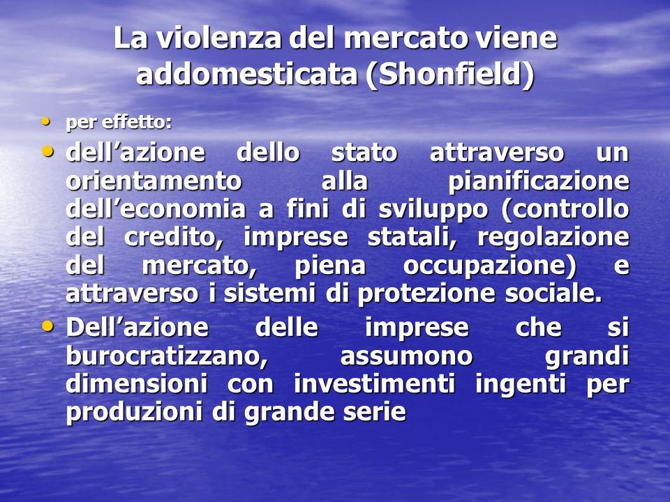 La violenza del mercato viene addomesticata (Shonfield) per effetto: per effetto: dellazione dello stato attraverso un orientamento alla pianificazione delleconomia a fini di sviluppo (controllo del credito, imprese statali, regolazione del mercato, piena occupazione) e attraverso i sistemi di protezione sociale.