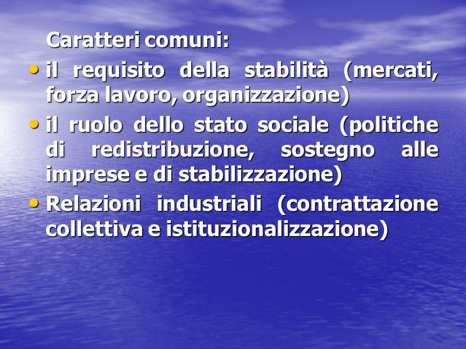 Caratteri comuni: Caratteri comuni: il requisito della stabilità (mercati, forza lavoro, organizzazione) il requisito della stabilità (mercati, forza lavoro, organizzazione) il ruolo dello stato sociale (politiche di redistribuzione, sostegno alle imprese e di stabilizzazione) il ruolo dello stato sociale (politiche di redistribuzione, sostegno alle imprese e di stabilizzazione) Relazioni industriali (contrattazione collettiva e istituzionalizzazione) Relazioni industriali (contrattazione collettiva e istituzionalizzazione)