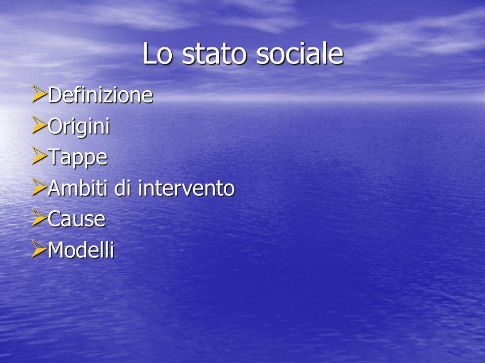 Lo stato sociale Definizione Definizione Origini Origini Tappe Tappe Ambiti di intervento Ambiti di intervento Cause Cause Modelli Modelli