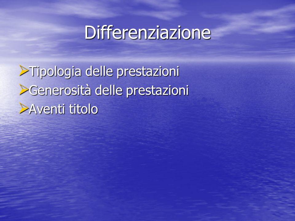 Differenziazione Tipologia delle prestazioni Tipologia delle prestazioni Generosità delle prestazioni Generosità delle prestazioni Aventi titolo Aventi titolo