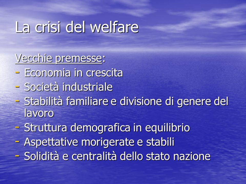La crisi del welfare Vecchie premesse: - Economia in crescita - Società industriale - Stabilità familiare e divisione di genere del lavoro - Struttura demografica in equilibrio - Aspettative morigerate e stabili - Solidità e centralità dello stato nazione
