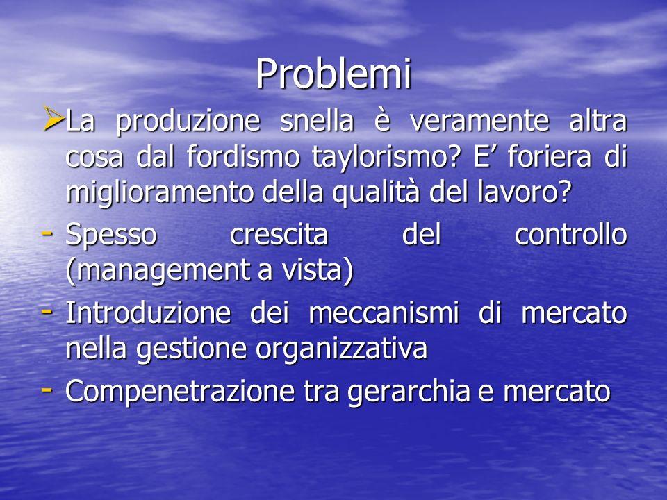 Problemi La produzione snella è veramente altra cosa dal fordismo taylorismo.